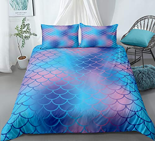 Mermaid Scale Bedding Blue Fish Scale Duvet Cover Set Blue Scale Pattern Kids Boys Girls Bedding Sets Twin 1 Duvet Cover 1 Pillowcase (Twin, Blue)