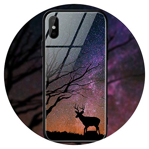 Space Star Case for iPhone X Xs Case Pc+Tempered Glass Patterned for iPhone 7 6 S 6S 8 Plus Cases Silicone Edge Cover,Style 25,for iPhone 7 8