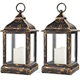 Bright Zeal /Pack of 2/ Vintage Candle Lantern with LED Flickering Flameless Candle (Distressed Bronze, 8hr Timer…