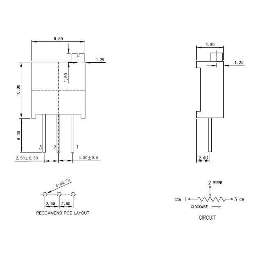 Greatwell 60pcs 3296w Multiturn Trimmer Potentiometer Kit High Variable Resistor Circuit Diagram Precision 500r 500k 2k 100r 100k 5k 200r 10k 1k 50k 20k 200k Ohm