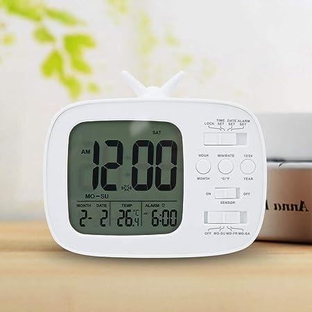 Mumusuki Reloj Despertador Digital Sensor Sensible Inteligente LCD Mini televisor con Forma de luz Nocturna para niños Decoración de Uso doméstico(Blanco): Amazon.es: Hogar
