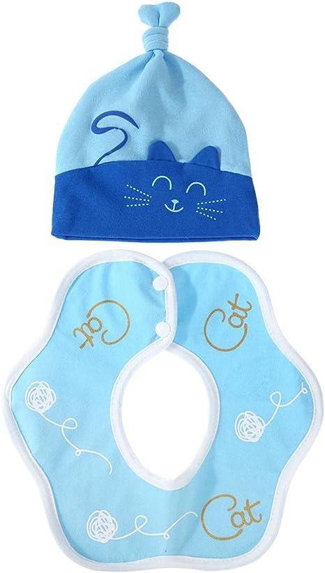 Everpert - Juego de 2 gorros y baberos de algodón para bebé recién nacido, diseño de gato con dibujos animados, unisex azul azul: Amazon.es: Bebé