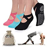 1. Yoga Socks for Women Non-Slip Grips & Straps, Ideal for Pilates, Pure Barre, Ballet, Dance, Barefoot Workout