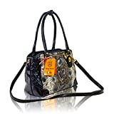 Marino Orlandi Italian Designer Grey Python Embossed Leather Crossbody Bag