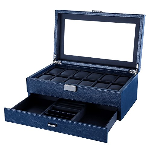 SONGMICS Watch Box 12 Mens Watch Organizer Jewelry Display Case Blue Textured Faux Leather UJWB012Q (Watch Display Case 12 compare prices)