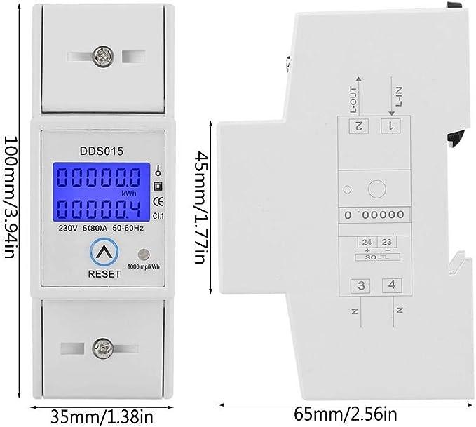Compteur d/énergie monophas/é 5-80A 230V 50Hz Compteur d/énergie num/érique Afficheur LCD DDS528 Wattm/ètre 35mm Montage sur rail DIN KWH Compteur d/énergie