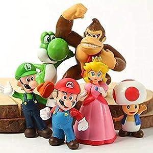 mario toys 6 Pcs / Set Super Mario Bros PVC Action Figure Toy Doll Mario Luigi Yoshi Mushroom Donkey