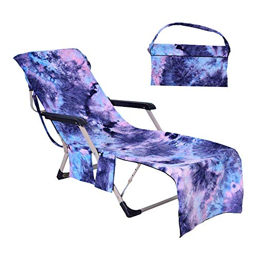 Beach Chair Cover with Side Pockets,Microfiber Chaise Lounge Chair Towel Cover for Pool Sun Lounger Hotel Vacation Sunbathing Garden Lawn Chair,No Sliding,Quick Drying,Tie-Dye Blue (82.5