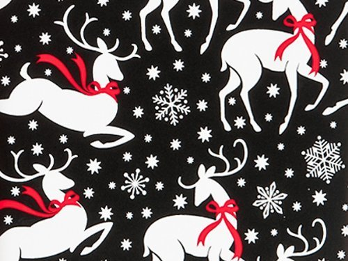 Reindeer and Snowflakes Christmas Holiday Gift Wrap Paper - 16 Foot Roll (Reindeer Paper)