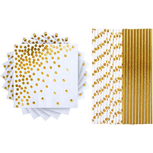 Elcoho 100 Pieces Gold Party Supplies Party Tableware 50 Pieces Napkins and 50 Pieces Paper Straws for Birthday Baby Bridal Shower - Tableware 50