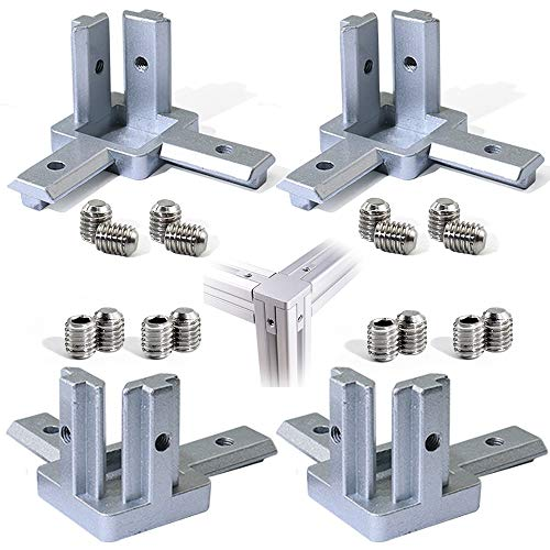 Aluminum 3 Way - Boeray (20s) 3-Way End Corner Bracket Connector for Aluminum Extrusion Profile 2020 Series (Pack of 4, with Screws)