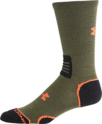 Under Armour Men's Hitch Lite II Crew Boot Socks, Green Heard/Orange, - Lite Green