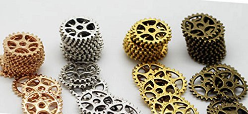 (Gears Cogs 15mm Copper, Brass, Silver and Gold for Crafting Steampunk Jewelry & Altered Art Set of 40 Pieces)