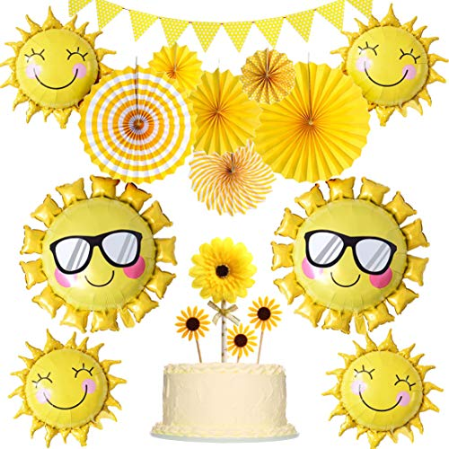 JOYMEMO Sunshine Party Decorations Yellow Hanging Paper Fans Sunflower Cake Toppers and Balloons for Sunny Summer Theme Party Birthday Baby Shower Supplies -