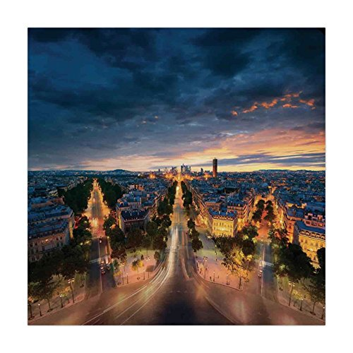 Boulevard Dining Room - iPrint Satin Square Tablecloth,Paris Decor,Paris Street View Avenue Boulevard Panoramic Dramatic Night Sky Downtown,Dining Room Kitchen Table Cloth Cover