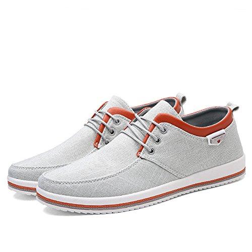 Scarpe Leggero Scarpe Uomo Bianco Tela Comfort Morbido Sneaker Casuale Passeggio Espadrillas Piatto CUSTOME A zEXqnaRE