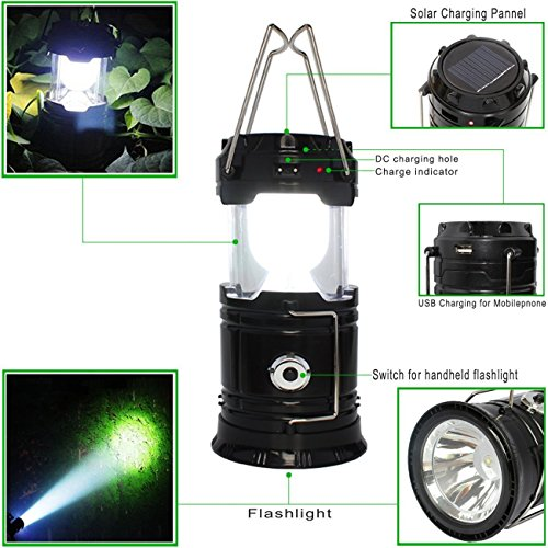 Updated Camping Lantern, Solar Rechargeable LED Camp Light & Handheld  Flashlight in The Bottom for Hiking, Camping, Fishing, Hurricanes, Outages,