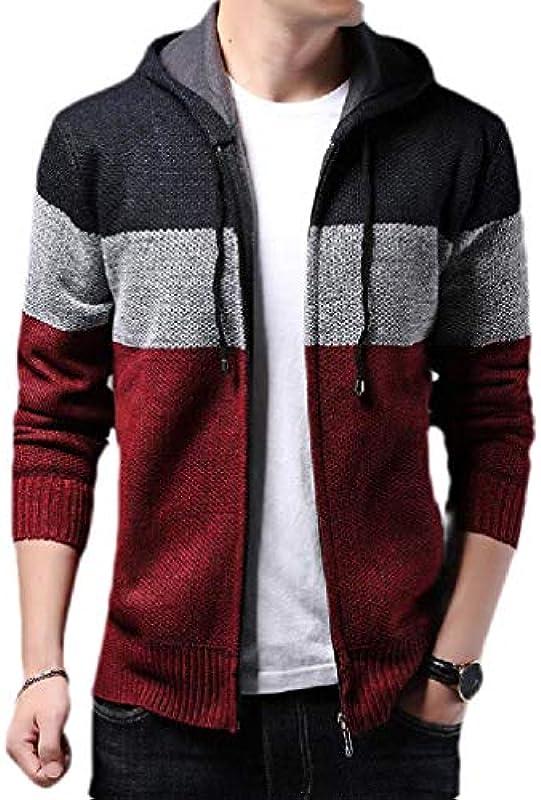 Yisism Men Zip Up Knitted Fleece Lined Slim Fit Hoodie Casual Cardigan Coat: Odzież