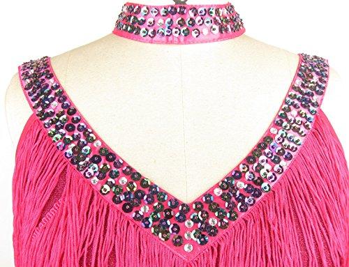 Années 1920 Houppe Frange Whitewed Perles V Cou Grandes Robes De Costumes De Gatsby Pink Flapper