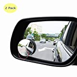 BORWAY Convex Blind Spot Mirror [Real Glass], 360° Rotatable Rear-View Add-on Mirror [Rimless] for Car Taxi 3M Self-Adhesive Glue [Easy Fast Installation] (English Instructions, Pack of 2)