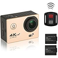 iGank 4K Wifi Sports Action Camera Ultra HD Waterproof Camcorder Pets DV 16MP Sony-179 Sensor/2.4G Remote Control/2 Rechargeable Batteries/25 items accessories Bundle(Gold)