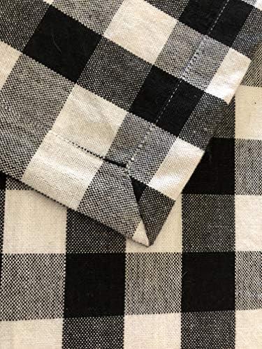 "60x108/"" Rectangle Black 100/% Yarn Dyed Cotton Buffalo Check Plaid Tablecloth"