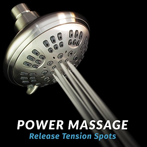 ShowerMaxx | Luxury Fixed Shower Head in Brushed Nickel Finish | Self Cleaning Nozzle Heads with 6-Settings Control | High Pressure Powerful Jets with Massage Spray | Wall Mount Adjustable Showerhead by ShowerMaxx (Image #5)