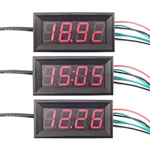 "DROK® 0.56"" Multifunction Car Clock/Time Thermometer Digital 0-33V Voltmeter 3 in 1 MCU Red LED Electronic Meter"
