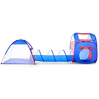 ELECTRA Kids Play Tent with Tunnel - 3-in-1 Playhut Hours of Indoor Outdoor Fun Popup X-Large Ball Pit for Children Red and Blue: Toys & Games