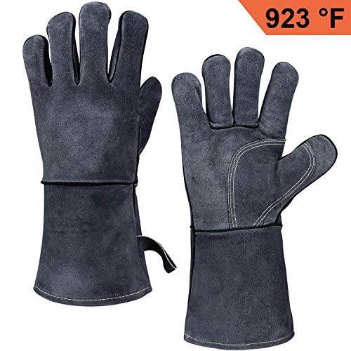 OZERO 662°F(350℃) Heat Resistant Welding Gloves with 14 inches Long Sleeve, Leather BBQ Grill Gloves Oven Mitts for Tig/Mig Welder/Pot Holder/Baking/Fireplace/Stove - Gray