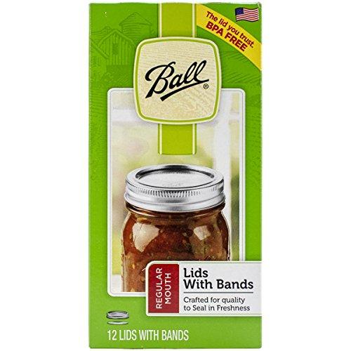 (Ball 114403 Lid/Band Regular Mouth Silver 12pc Jar Lids & Bands,)