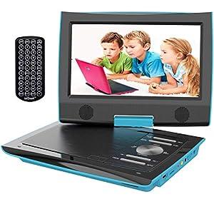 """ieGeek 9.5"""" Reproductor de DVD Portátil para el Coche Reproductor DVD con Pantalla Giratoria Soporta Tarjeta SD/USB/CD/DVD Batería Recargable con Mando a Distancia 1"""