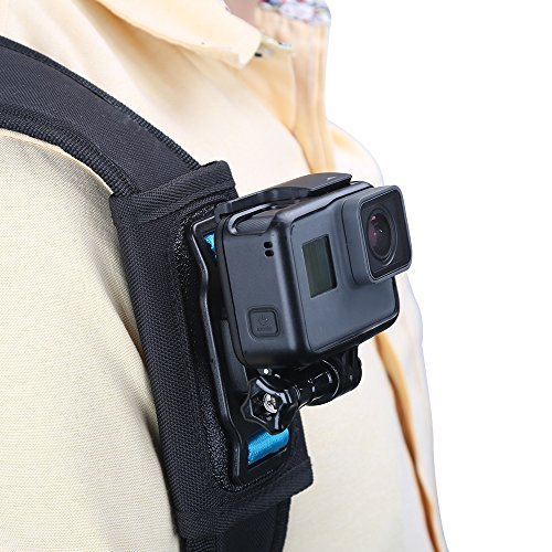 TELESIN compatible Backpack Shoulder Strap Mount for Camera, Adjustable Shoulder Pad & Strap Holder attached for GoPro Hero/Fusion/Session, Polaroid, Xiaomiyi, SJCAM,Osmo Action (Backpack Strap Mount)