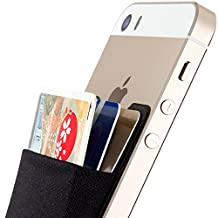 Card Holder, Sinjimoru Ultra-slim Adhesive Wallet iPhone credit card holder, iPhone case with a card holder, Credit Card Wallet, Card Case and Money Clip. For Android, Sinji Pouch Basic 2, Black