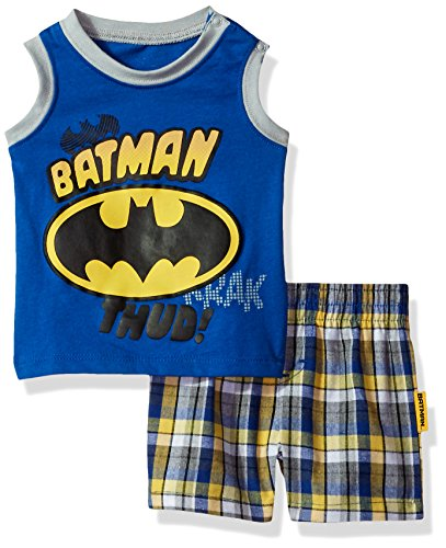 Warner Brothers Boys' 2 Piece Batman Tank and Plaid Short Set at Gotham City Store