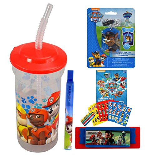 Paw Patrol Fun Sip Favor Cup! Valentines Day Gift, Easter Basket Filler, Stocking Stuffer or Party Favor! Pre-Filled & Ready For Giving! Includes Keepsake Tumbler, Stickers & Favors!