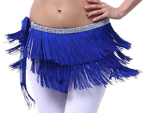 Fringe Skirt Belly Dance Scarf with Fringes Royal Blue L ()