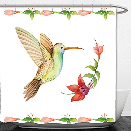 Fuchsia Tulle Flower Decoration (Interestlee Shower Curtain Hummingbirds Decorations Hummingbird Flying over A Fuchsia Flower Stem Watercolor Effect Art Print Caramel Green)
