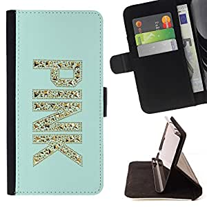 Momo Phone Case / Flip Funda de Cuero Case Cover - Glitter Bling Mint Green - Sony Xperia Z5 5.2 Inch (Not for Z5 Premium 5.5 Inch)