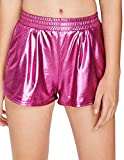 SweatyRocks Women's Yoga Hot Shorts Shiny Metallic Pants Fuchia Red S