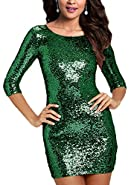 SUJAN Women's Sequins Dresses Midi Bridesmaid Maxi Gown