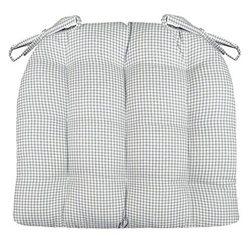 (Barnett Products Madrid Gingham Check Grey Dining Chair Pads - Size Standard - Latex Foam Filled Cushion - Reversible, Machine Washable, Made in USA (Gray Plaid))