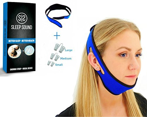 Anti Snoring Chin Strap and Anti Snoring Nose Vents Snoring Solutions Nasal Dilators Fully Adjustable Sleep Aid Device for Men Women and Kids Snoring Reduction Devices Adjustable Strap
