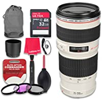 Canon EF 70–200mm f/4L USM Lens with 32GB Ultra Pro Speed Class 10 SDHC Memory Card + 3pc Filter Kit (UV-FLD-CPL) + Deluxe Sleeve + Celltime Microfiber Cleaning Cloth - International Version