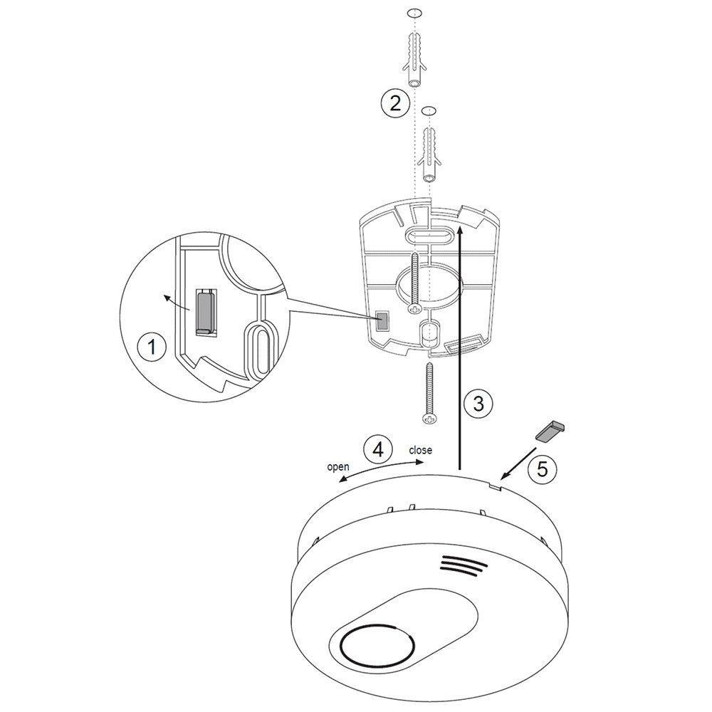 SEBSON Detector de Humo, Batería de Litio de Larga Duración 10 Años, DIN EN 14604, VdS 3131, Mudo (10min / 10h), Detectores fotoeléctricos de Humo, ...
