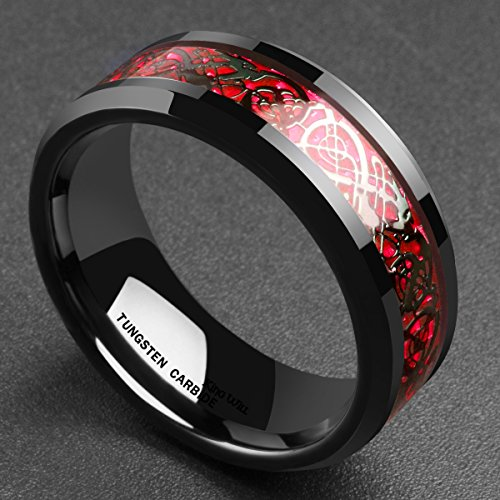 King Will Men's 8mm Red Carbon Fiber Black Celtic Dragon Tungsten Carbide Ring Comfort Fit Wedding Band(10) by King Will (Image #1)