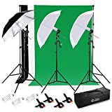 Photo Master 600W Photography Continuous Umbrellas Lighting Kit for Video Studio Includes 6x6.6ft Background Stand, 3 Backdrops, 2 Soft Umbrellas,1 Umbrella Reflector, 4 Clamps, Carrying bags