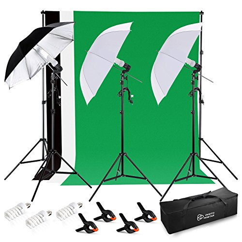 Photo Master 600W Photography Continuous Umbrellas Lighting Kit for Video Studio Includes 6x6.6ft Background Stand, 3 Backdrops, 2 Soft Umbrellas,1 Umbrella Reflector, 4 Clamps, Carrying bags by PHOTO MASTER
