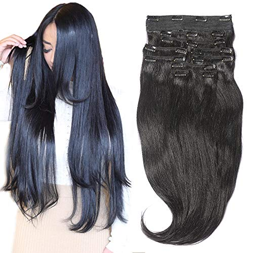 Clip In Sets 10pcs Clip In Human Hair Extensions Jet Black #1 Remy Human Hair Straight For Full Head 22inch 220g Weight ()