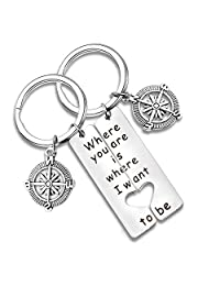 MAOFAED Long Distance Relationship Gift Couple Keychain Friendship Gift Where You are is Where I Want Military Gift